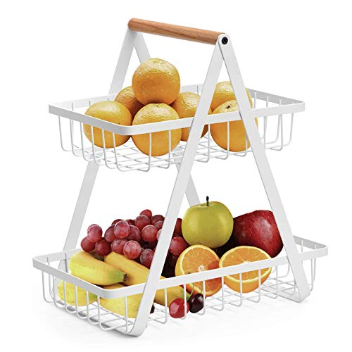 2-Tier Fruit Basket, Metal Fruit Bowl Bread Baskets Countertop Vegatable Storage Stand for Kitchen, White