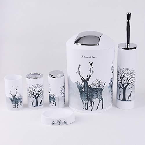 Cutfouwe Badezimmer Zubehör-Set 6 Stück Toilettenbürste Abfalleimer Zahnbürste Cup Bad Zubehör-Set,6 PCS