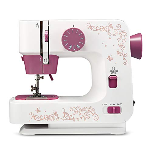 lxfy - Máquina de coser eléctrica, botón multifunción grueso con bloqueo, mini máquinas de coser para ropa de bricolaje, mini máquina de coser portátil