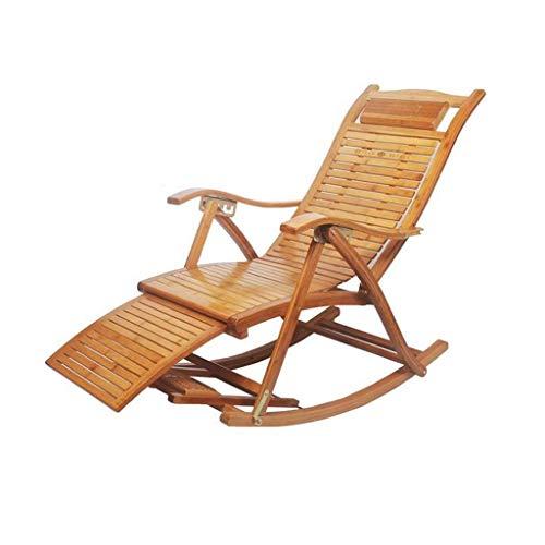 WFFF Silla Plegable Mecedora de bambú Plegable de Ocio Ajustable, Silla de Camping de Ocio para jardín/balcón con reposapiés retráctil