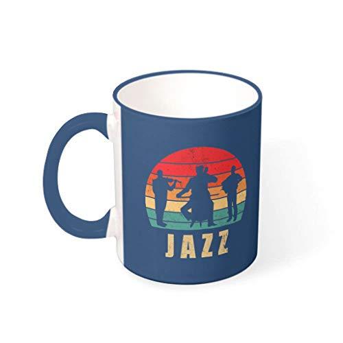 Taza de café Jazz de primera clase de cerámica personalizada linda – Taza de agua para salón azul medianoche 330 ml