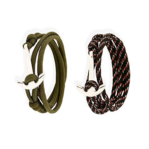 Anchor Hope - Pulsera unisex con cuerda de nailon trenzada, 4 hebras, color negro y verde