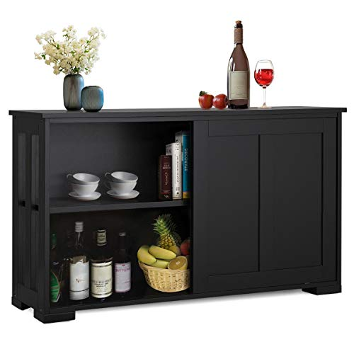 YAHEETECH Wine Cabinets with Adjustable Shelf and Sliding Door, Narrow Bar Cabinet for Living Room, Black