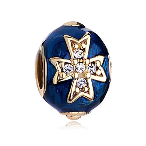 DemiJewelry Blue Celtic Cross Bracelet Charm Crystal Faberge Egg Charm Bracelets for Charm Bracelets