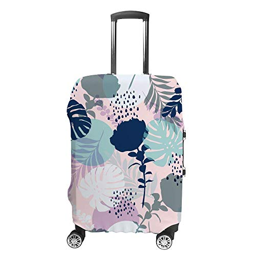 Luggage Cover Thickened Washable Bright Colors Summer Leaves Flowers Polyester Fibe Elastic Foldable Lightweight Travel Suitcase Protector
