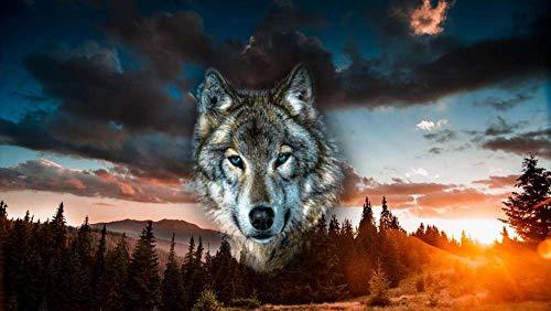 FAWFAW Klassische Puzzle 300 Teile, Spiritueller Wolf, Waldsonnenuntergang, Brain Challenge Spiele