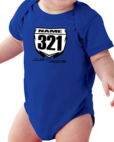 Just Ride Motocross Baby Number Plate One Piece Creeper Personalized YZ Blue (NB-3 Month)