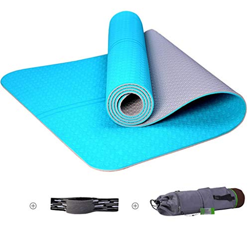 Yoga Mat Fitness Mat Sport Mat zweetopname Slip Grote Opvouwbare 6mm TPE Materiaal huis Environmental Protection Beginner Machine Wash Yoga Matten (Color : Blue, Size : 183 * 68 * 0.15cm)