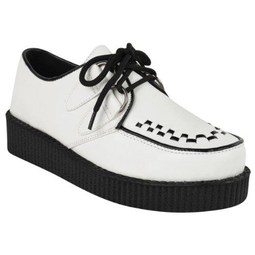 NUEVO DE MUJER Creeper Gótico Punk Plataforma Zapatos Con Cordones Medidas planas - Blanco Piel Sintética Monocromo, 38