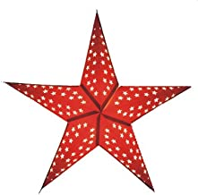 "Brubaker Estrella Decorativa Navidad Plegable en Papel Aluminio Rojo ""Med Halozen"" 5 Puntas 60 cms."