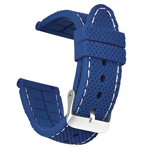OLLREAR Unisex Silicona Correa Reloj 6 Colores 3 Tallas 24mm Azul Marino