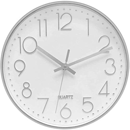 Lumuasky Modern Wall Clock, Silent Non-Ticking Battery Operated Decorative Clock for Living Room Bedrooms Office Kitchen (White Silver, 10 inch)
