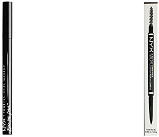 NYX PROFESSIONAL MAKEUP Epic Ink Eyeliner Black Bundle with Micro Brow Eyebrow Pencil Ash Brown (2 Items)