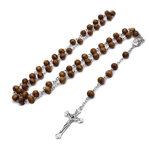 Collar de Cuentas de Rosario de Madera Retro HEYLULLU para Mujer, Colgante de Cruz de Jesús, Regalos religiosos, Collar de Rosario