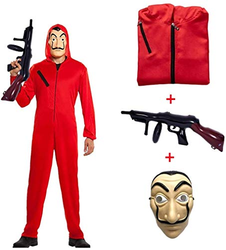 Disfraz de La casa de Papel para Disfraz Ladrón Disfraces Carnaval Halloween. Incluye un Traje con Capucha y una Dali máscara Ametralladora Hombre Mujer Adulto Niño,AdultM155~170CM