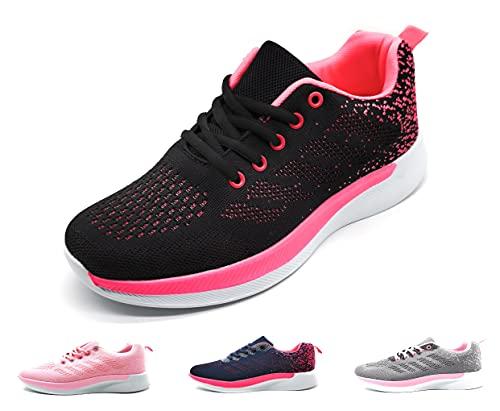 Zapatillas Deportivas Mujer Running Ligero Malla Transpirable con Cordones Zapatillas de Deporte para Mujeres Fitness Correr Atletismo Caminar Andar Gimnasia Negro Rosa 40