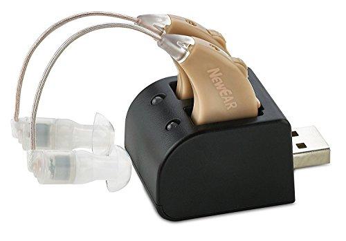Hörverstärker-Set mit Neuer Digital-Technologie – Fast Unsichtbares Design und Wiederaufladbare USB-Station – Paar Tonverstärker mit Anpassbarer Lautstärke- Kontrolle von NewEar