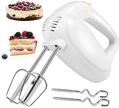 Hand Mixer Electric, Updated Steel 5-Speed Hand Mixer with Turbo Handheld Kitchen Mixer, Stainless Steel Egg Whisk with 2 Beaters Sticks and 2 Dough Sticks for Whipping Cream, Cakes