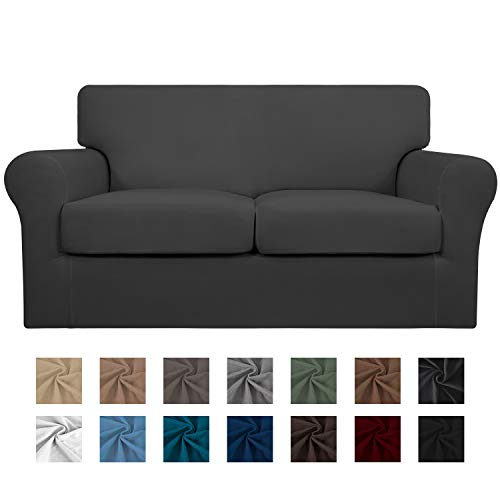 Easy-Going 3 Pieces Stretch Soft Couch Cover for Dogs - Washable Sofa Slipcover for 2 Separate Cushion Couch - Elastic Furniture Protector for Pets, Kids (Loveseat, Dark Gray)