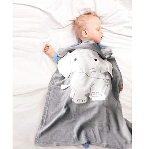 Ecisi Premium-Kaschmir-Babydecke für alle Jahreszeiten, leichte, warme Kinderbettdecke in Elefantenform, weiche und atmungsaktive Tagesliege