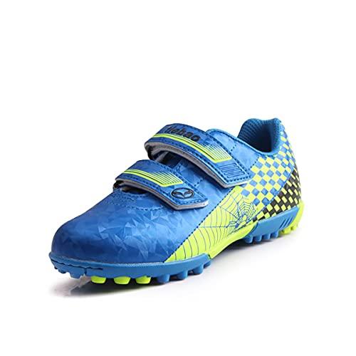 Saekeke Botas de fútbol para niños TF Zapatos de fútbol Adolescentes Adultos Profesionales Atléticos Antideslizante Calzado de Entrenamiento Unisex Azul Verde EU30
