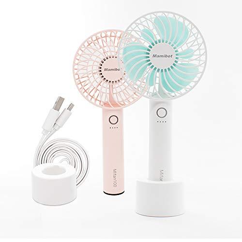 Mamibot - Ventilador eléctrico de mano recargable (2600 mAh, batería de mano y para colocar el escritorio en casa y de viaje, 12 horas de duración a menor velocidad)