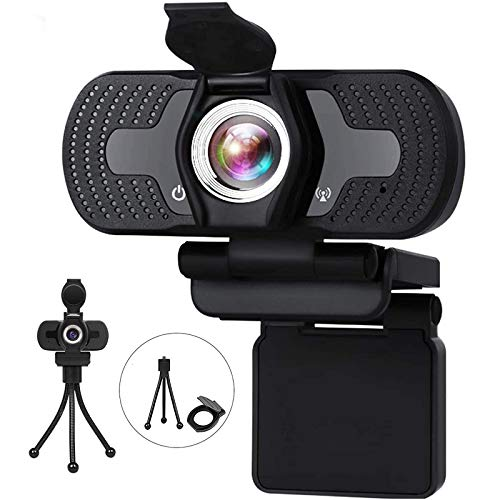 Aode Full HD 1080p Webcam with Microphone Live Streaming Computer Camera with Privacy Shutter, Tripod for Video Calling Online Classes Works with Skype Zoom FaceTime PC/Laptop/Smart TV/Mac OS Linux