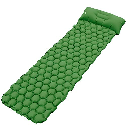 Deeplee Camping Mat, Inflatable Sleeping Mat with Pillow, Ultralight Sleeping Pad for Backpacking, Camping, Hiking