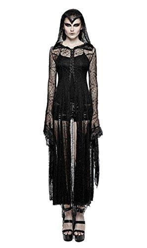 Punk Rave Dark Dreams Gothic Steampunk Hexe Cobweb Spinnennetz Mantel Kleid Cadis Kapuze Vampir Witchy schwarz 36 38 40 42 44 Tarantula Top, Größe:XL/XXL