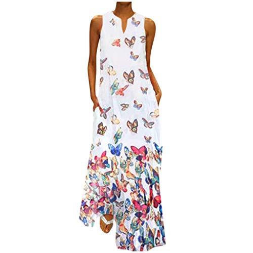 PcLeam Frauen Plus Size Butterfly Print TäGlich ÄRmelloses Vintage Boho V-Ausschnitt Maxikleid Maxikleid Sommerkleid Kleider Damen Sommer Vielseitige Sommer Party Kleider Basic Kleid