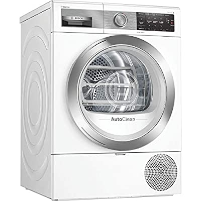 Bosch WTX88EH9GB Serie 8, Freestanding Heat Pump Tumble Dryer with HomeConnect, IronAssist, AutoDry, Sensitive Drying System, Down Drying and Quick 40' drying, 9kg load, White