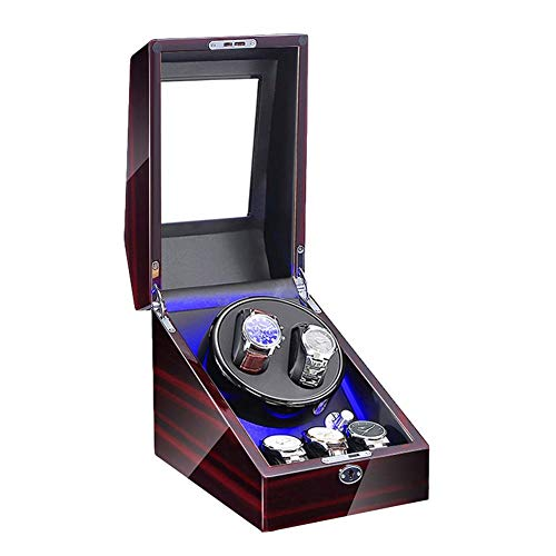 AWJ Enrollador de Reloj para 2 Relojes automáticos + 3 de Almacenamiento Luz LED Azul Pintura de Piano Adaptador de CA Exterior y Motor silencioso Alimentado por batería
