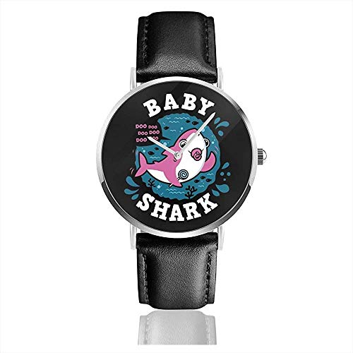 Baby Shark Family Girl Schnuller Uhren Quarz Lederuhr mit schwarzem Lederband für Sammlung Geschenk