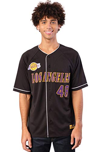 Ultra Game NBA Los Angeles Lakers Mens Mesh Button Down Baseball Jersey Tee Shirt, Black, Large