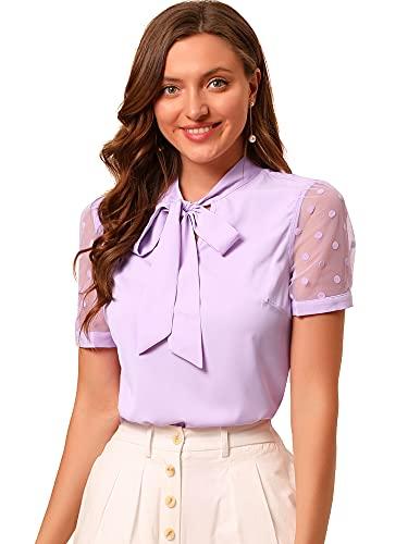 Allegra K Women's Bow Tie Neck V Neck Stand Collar Short Mesh Sleeve Blouse Medium Purple