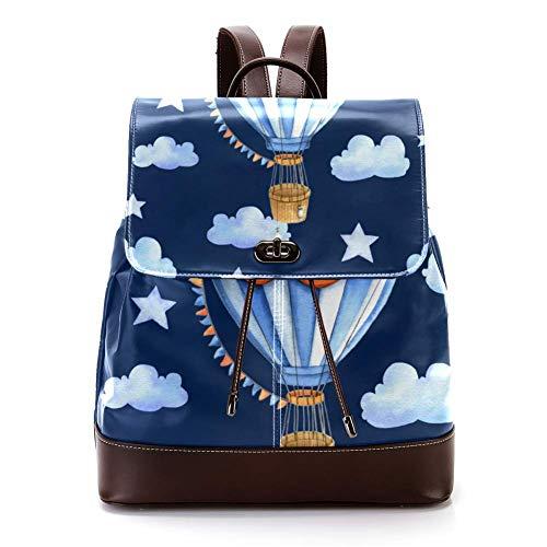 Lässiger PU-Leder-Rucksack für Herren, Damen, Schultertasche, Studenten, Tagesrucksack für Reisen, Business, Uni, Luftballon Wolken