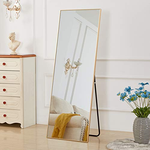 "Aluminum Alloy Thickened Frame-65 x22"", Full Length Mirror, Floor Mirror, Standing Mirror, Full Body Mirror, Large Mirror, Floor Length Mirror, Wall Mirror, Gold Mirror, Gold Aluminum Frame"