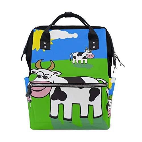 Große Kapazität Rucksack Grünland Landschaft Nette Kühe Tier Wiese Cartoon Casual Daypack Rucksack Schultaschen für Studenten Mädchen Frau