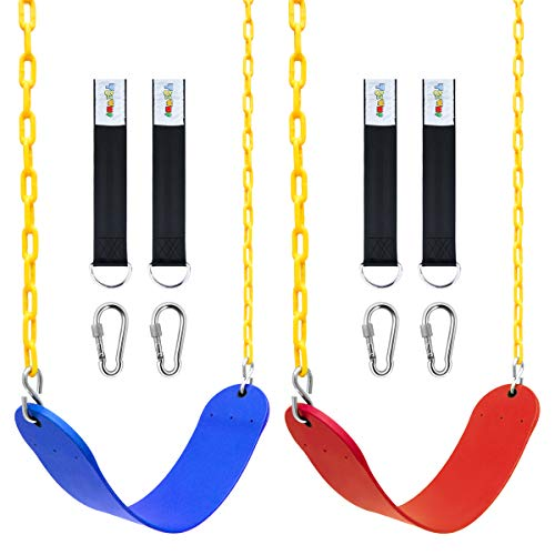 """2 Pack Swings Seats Heavy Duty with 70.8"""" Chain Plastic Coated, Playground Swing Set Accessories Replacement with Snap Hooks and Hanging Strap(Red+Blue)"""