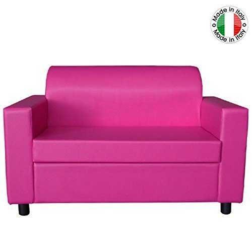 BAKAJI Divano 2 POSTI con Braccioli Divanetto Attesa Poltrona Relax in Ecopelle Colore Fuxia Made in Italy