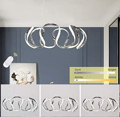 Esszi - Lámpara de araña LED decorativa para mesa de comedor, lámpara moderna y creativa, diseño curvado de acrílico, regulable con mando a distancia, altura regulable
