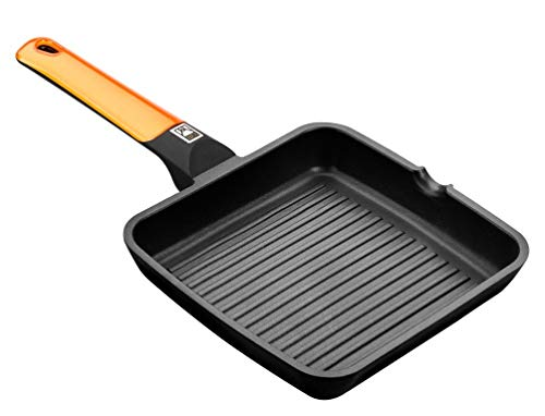 BRA Efficient Orange - Grill asador con Rayas, 28 cm, Aluminio Fundido con Antiadherente Platinum Plus, Apto para inducción, Efficient Orange