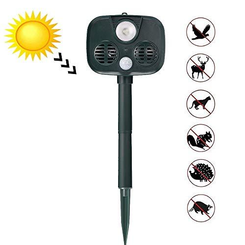 Hoodie Ultrasone verjager voor dieren, buiten, zonne-energie, waterdicht, met ultrasone geluid, bewegingssensor en knipperlicht voor eekhoorns, mol