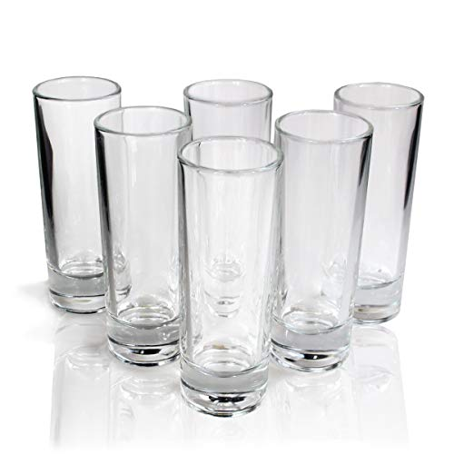 Cutehom Tall Tequila Shot Glasses - Set of 6 Crystal clear Glassware Kit
