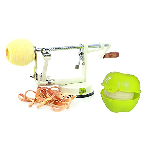 Made for us® Profi Alu- Apfelschäler in Cremeweiß, 3 in 1 Edelstahl Apfelschneider Apfelentkerner Schälmaschine für Apfelringe mit Apfeldose