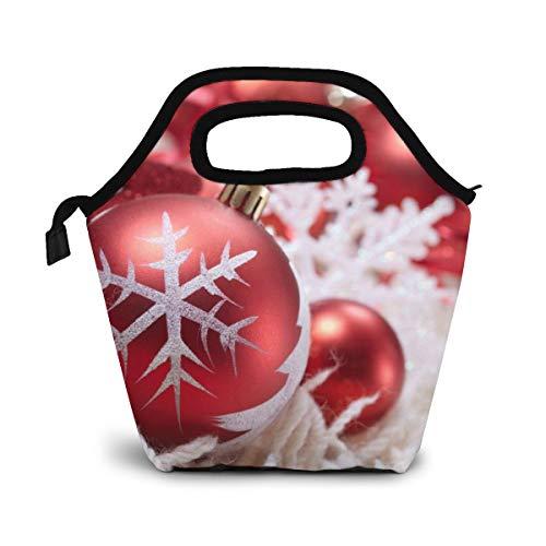 NiWCGP Schneeflocke rote Kugel Lunch Tasche Isoliertasche Kühltasche Lunchtasche Thermische Lunch Tasche Mittagessen Tasche für Mädchen Kinder Mama