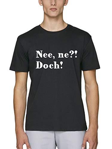 clothinx Herren T-Shirt Bio und Fair Sprüche Nee, ne?! Doch! Schwarz/Weiß Größe XL