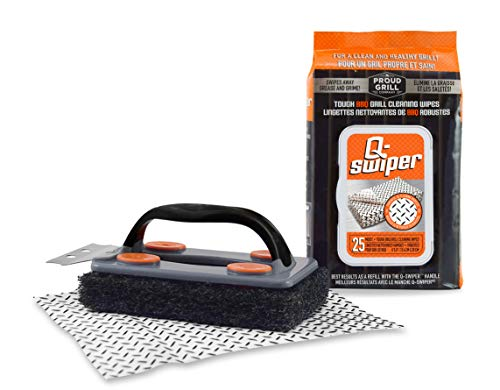 Q-Swiper BBQ Grill Cleaner Set - 1 Grill Brush with Scraper and 25 BBQ Grill Cleaning Wipes |...