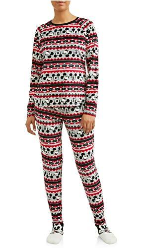Disney Womens Mickey Mouse Ladies Sleepwear PJs Pajamas Set Shirt Pants & Socks (Large 12-14), Black