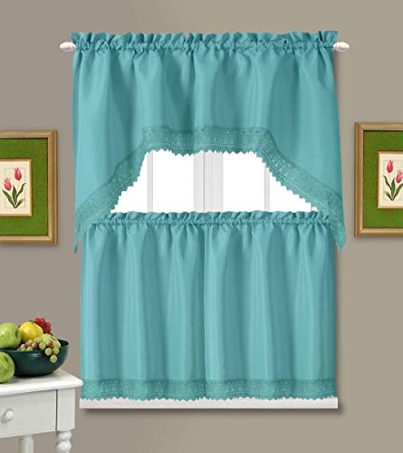 Café Curtains for Kitchen, Bathroom Curtains with Valance, Embroidered lace Border. (Teal)